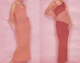 1990s Lagerfeld Womens A Line Evening Gown Diagonal Seaming Color Block Vogue Sewing Pattern 1979 Size 12 14 16 Bust 34 36 38 FF