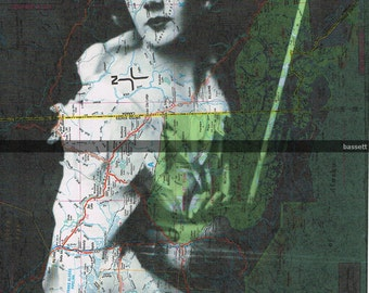Map.woman.travel. Prints, Repurposed Book Pages. Vintage Photo, Paper .Violin.home deco.voyage.atlas.mom.dad.sis