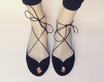 Leather Shoes. Ballet Flats Shoes. Peep Toe Black Leather. Mary Jane Shoes. Black Open Toe. Handmade Ballerinas. Wedding Shoes. Bridal Flats