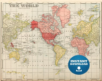 Vintage world map etsy digital old world map printable download vintage world map printable map large world gumiabroncs Image collections