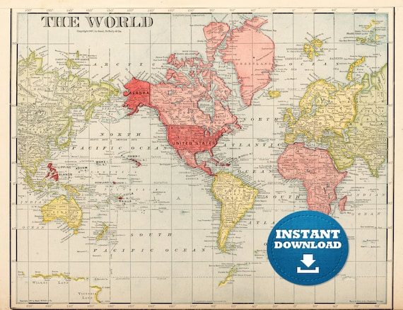 Digital old world map printable download vintage world map te gusta este artculo gumiabroncs Images
