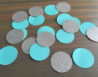 100 silver glitter and teal circle paper punches, confetti, die cut, baby showers, parties