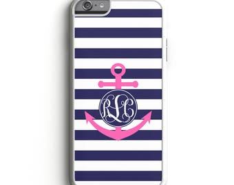 Personalized Phone Case Nautical Anchor Monogram, Custom Monogrammed Phone Case, iPhone 7 Case Samsung Phone Case Cell Phone Case