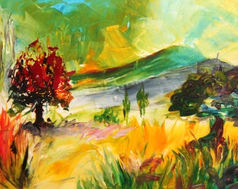 Expressionist landscape oil painting signed