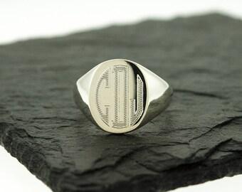 925 Sterling Silver Men's Signet Monogram Ring, Groomsmen Gifts