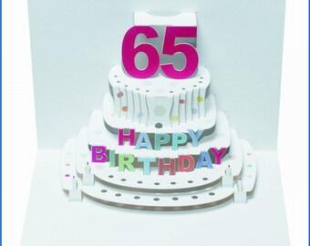 Pop Up Laser cut card - 65th Birthday  POP49