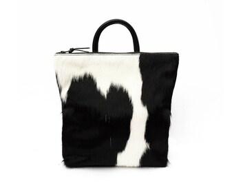 Cowhide Backpack - Black and White   Bag   Hair on Hide