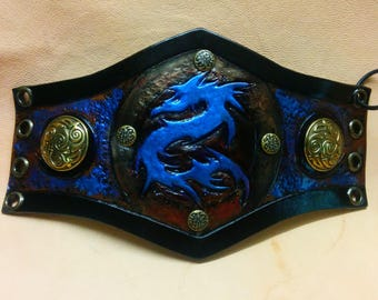 """Blue DRAGON"" leather bracelet, inspiration Med Fan, blue and bronze, engraved and hand painted black"