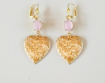Rose Quartz Pink Gemstone and Raw Brass Flower Heart Earrings with Leverback
