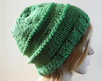 Hand knit chunky slouchy hat wide band in grass leaf green pure australian wool women men unisex warm winter fall beanie touque READY MADE