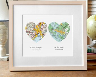 Two Hearts Map Print, Wedding or Engagement Gift, Two Map Hearts, Custom Wedding Gift, Engagement Print, Anniversary Gift, Map Art, Heart
