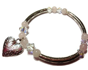 Love Bracelet, Bangle Bracelet, Valentines Jewelry,  Heart Bracelet, For Her