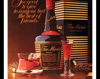 1984 Tia Maria Coffee Liqueur Ad for Christmas - Wall Art - Home Decor - Bar - Drinks - Retro Vintage Beer and Liquor Advertising