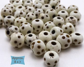 Dot Pattern Carved Bone Rondelle Beads--10 Pcs. | 20-BN316-10