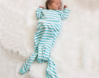 SALE...Soft Cotton Knotted Newborn Gown....Hospital Gown.... Bringing Home Baby