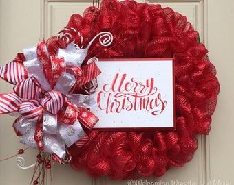 Christmas Wreath, Christmas Mesh Wreath, Merry Christmas Wreath, Red and White Wreath, Christmas Door Wreath
