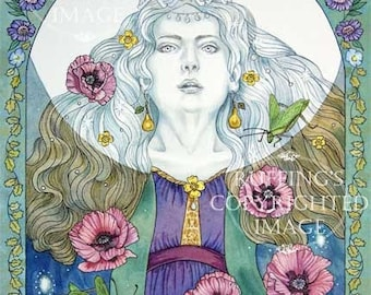 Moon Sings Lullaby, Giclee Fine Art Fantasy Print, Purple, Turquoise, Floral Border, Signed Elizabeth Ruffing, on 8.5 x 11 inch art paper
