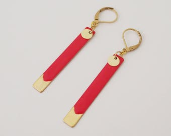 Red long earrings enamel jewelry - Strawberry