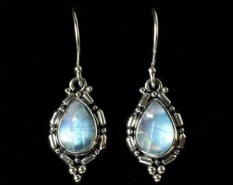 Sterling Silver Rainbow Moonstone Earrings, Rainbow Moonstone Balinese Earrings, Tear Drop Rainbow Moonstone Earrings: OLIVIA