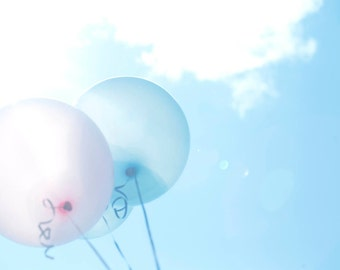 Photo Print or Canvas Gallery Wrap - Pastel Balloons, Blue Skies, White Fluffy Clouds, Childrens Whimsey Wall Art