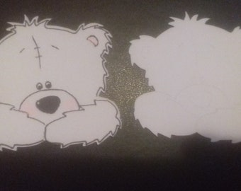 10 x Peeking Bears in White Card