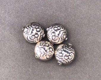 11 x 10 mm Silver Bali Face Bead