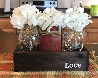 Mason Jar Decor, Mothers Day Gifts, Lighted Mason Jar Decor, Painted Mason Jars, Mothers Day Gift From Son, Mothers Day Gift From Daughter