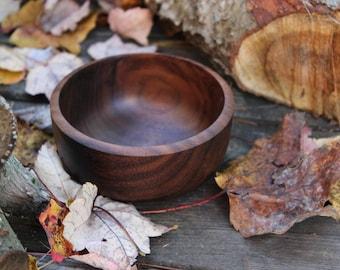 "188 - Treasure Bowl Turned Black Walnut Wood - 4 1/4"" inch. Hand Turned Wooden Bowl, Trinket or Ring Bowl, Snack Bowl , Food Safe Finish"