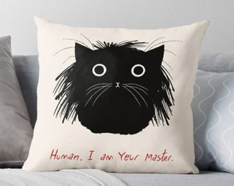 Human, I am Your Master - Cat Throw Pillow Cover - 16 inch x 16 inch by Oliver Lake / iOTA iLLUSTRATION