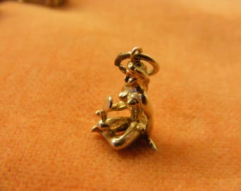 F) Vintage Sterling Silver Charm Naked Lady looking in a mirror