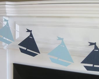 Sailboat Nautical Theme Baby Shower or Birthday Garland Banner - You Pick Your Colors - Free Ship Over 65.00