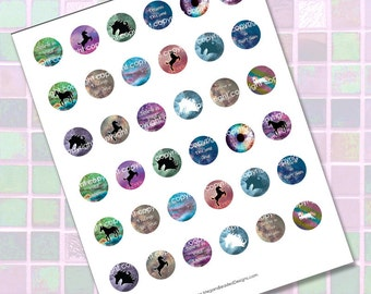 Unicorn Digital Collage Sheet Magical Fantasy Circles Printable Images 25mm 1 inch Instant Download for Jewelry Making