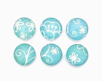 Whimsical Fridge Magnets, Blue Flowers, Shabby Chic, Magnet Set, Cute Magnets, Teach Gift, Best Friend Gift,  Basket, Glass Magnet Set