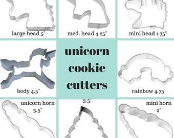UNICORN Cookie Cutter, set of 8, mini head, mini horn, body, unicorn, rainbow, Head with mane, smooth mane head cookie cutter
