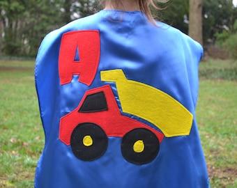 Childrens Capes Custom DumpTruck superhero Kid Cape w/ intial