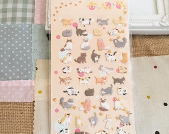 Stickers - 42pcs puffy lazy morning cat (Kawaii collection)