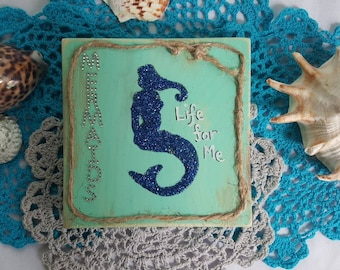 Mermaid, silhouette, quote, wooden block, home decor, mermaids life for me,