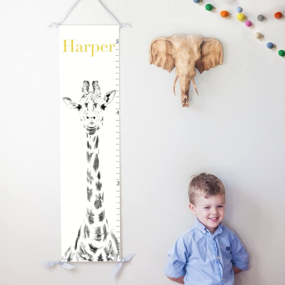 Personalized giraffe canvas growth chart