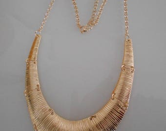 Bib necklace gold streaked, 130 mm x 25 mm silver