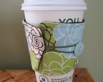 Green Floral Coffee Sleeve Cup Cozy