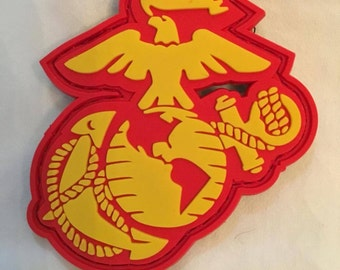EGA Tactical PVC Morale Patch USMC Marine Corps Sempre Fidelis -Red and Yellow
