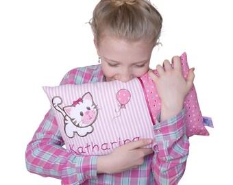 Personalisiertes Namenskissen,Kinderkissen, Kissen, Geburt, Taufe, mit Motiv Katze in rosa, aus Baumwollstoff,  Kuschelkissen,Kinderkisse.