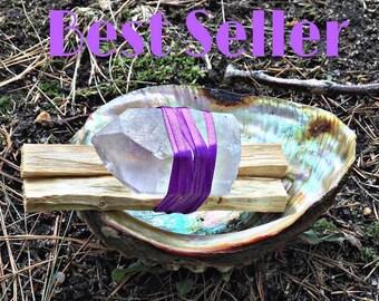 Sage Goddess Bundle | Smudge Kit | Holy Wood | Palo Santo + Healing Crystal bundle (2 Palo Santo sticks, 1 LRG clear quartz )