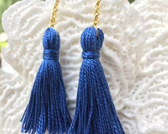 French cotton thread, tassel earring, gold plated chain and hook, blue earring, bridal shower, anniversary jewelry, date night, gold dangle