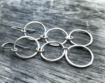 Silver Circle Earrings -  Sterling Silver Drop Earrings - Hammered Silver Earrings - Sterling Silver Dangle Earrings - Essential Connections