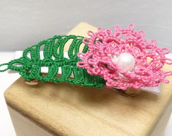 shuttle tatting hair barrette with hot pink flower and leaf -Rosette Barrette one of a kind hair accessory handmade floral 2 inch barrette