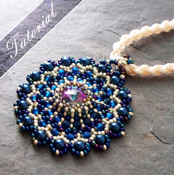 Beaded Pendant Tutorial Lacy Medallion Rivoli And Seed Bead