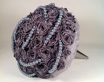 Pewter Satin And Pearl Bridal Bouquet