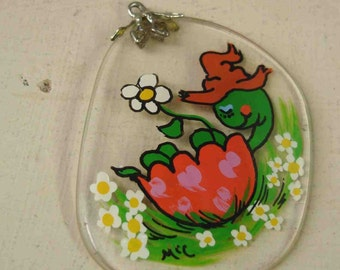 Vintage Flower Child Glass Pendant Handpainted Turtle FREE SHIPPING