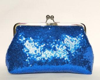 Cobalt Blue Sequin Clutch, Sequin Clutch, Wedding Clutch, Evening Sequin Clutch, Bridal Sequin Clutch, Bridesmaids Clutch